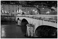 Pont de la Citadelle on the Isere River at dusk. Grenoble, France (black and white)