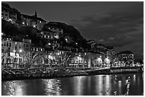 Night view with Isere River and illuminations reflected. Grenoble, France ( black and white)