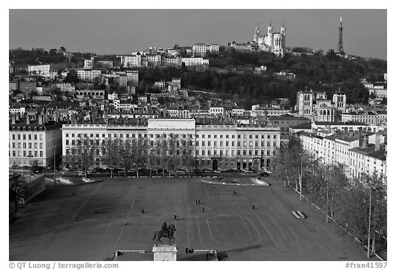 Place Bellecour. Lyon, France (black and white)