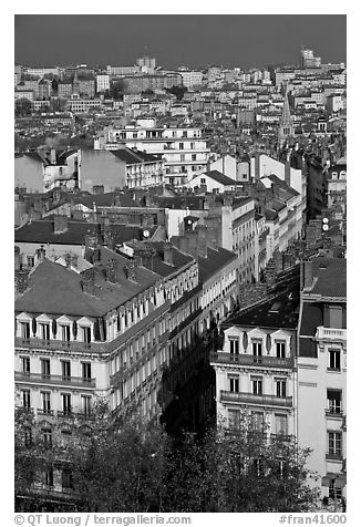 Aerial view of city heart. Lyon, France (black and white)