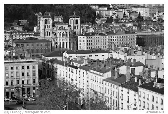 View of city and Saint Jean Cathedral. Lyon, France (black and white)
