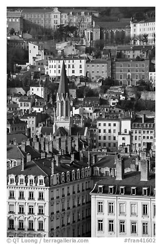 View of city and St-George church. Lyon, France (black and white)