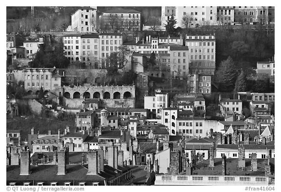 Old city on hillside. Lyon, France (black and white)