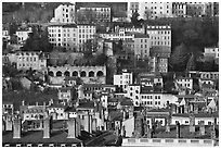 Old city on hillside. Lyon, France ( black and white)