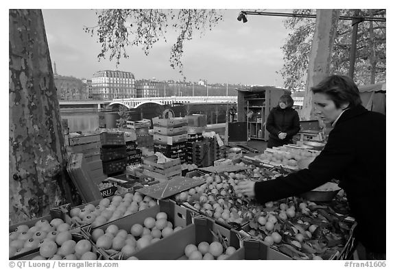 Fruit market on the banks of the Rhone River. Lyon, France (black and white)