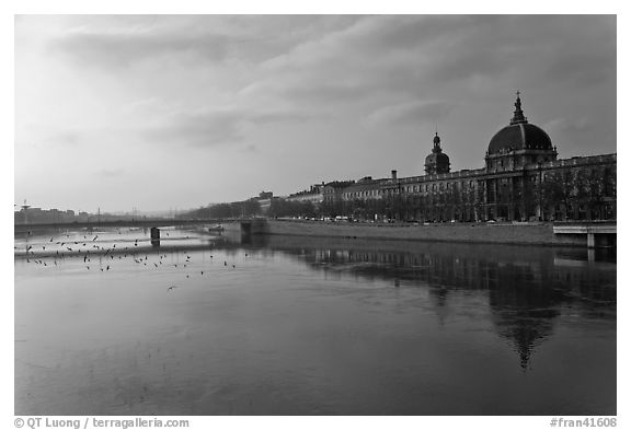 Rhone River and Hotel Dieu. Lyon, France (black and white)