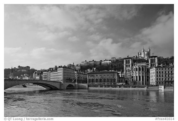 Saone River and Old Town. Lyon, France (black and white)