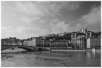 Saone River and Old Town. Lyon, France ( black and white)