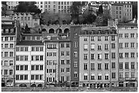Painted houses on banks of the Saone River. Lyon, France ( black and white)