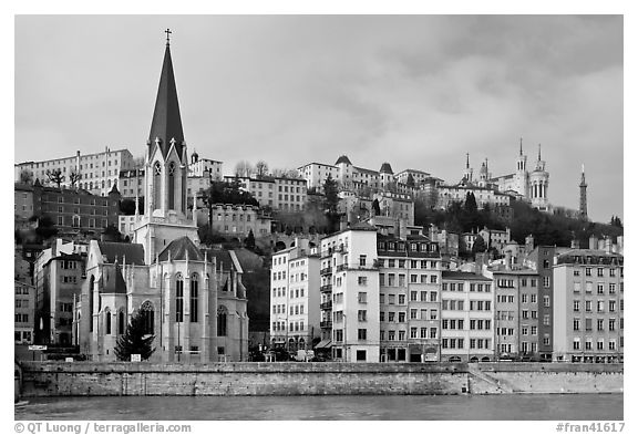 Church Saint George and Fourviere Hill. Lyon, France (black and white)