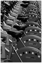 Bicycles for rent. Lyon, France ( black and white)