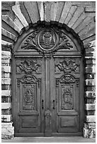 Historic wooden door. Lyon, France ( black and white)