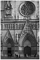 Facade of Saint Jean Cathedral. Lyon, France (black and white)