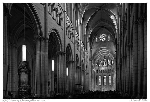 Nave of Saint Jean Cathedral. Lyon, France (black and white)