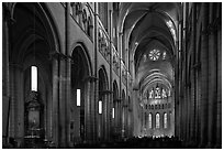 Nave of Saint Jean Cathedral. Lyon, France ( black and white)