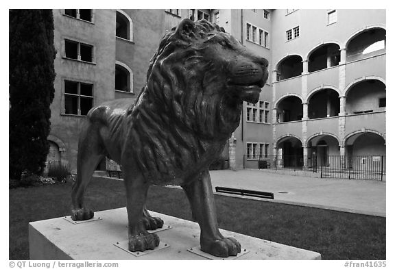 Lion sculpture, Maison des Avocats, historic district. Lyon, France (black and white)