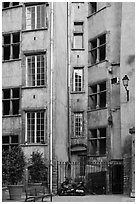 Old house in historic district. Lyon, France ( black and white)