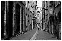 Rue du Boeuf, narrow historic street. Lyon, France ( black and white)