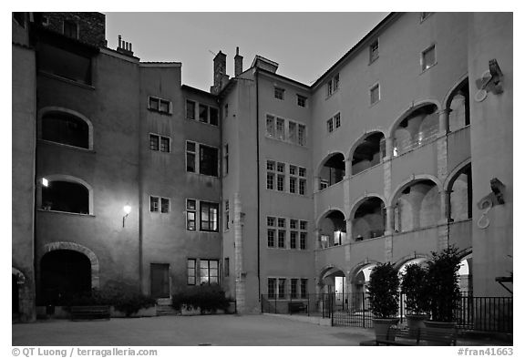Maison des Avocats at dusk. Lyon, France (black and white)