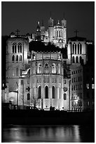 Cathedrale St Jean, Basilique Notre Dame de Fourviere by night. Lyon, France (black and white)