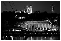 Passerelle, Palais de Justice, and Basilique Notre Dame de Fourviere by night. Lyon, France (black and white)