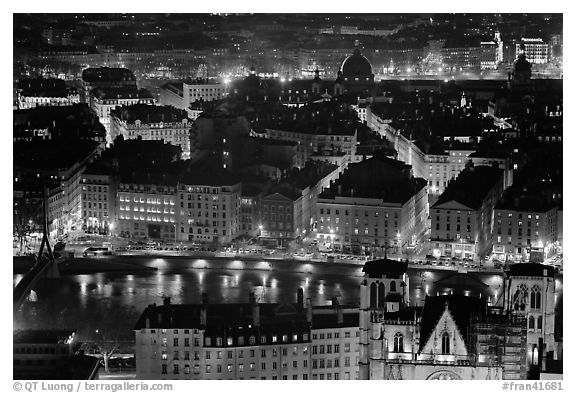 Presqu'ile by night, as seen from Fourviere Hill. Lyon, France (black and white)
