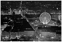 Bellecour square with Ferris wheel at night, seen from above. Lyon, France ( black and white)