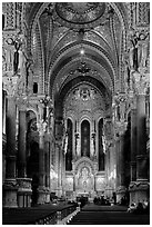 Inside Notre-Dame de Fourviere Basilique, decorated with frescos. Lyon, France (black and white)