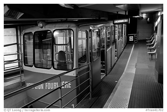 Vieux Lyon Fourviere  Funiculaire, lower station. Lyon, France (black and white)