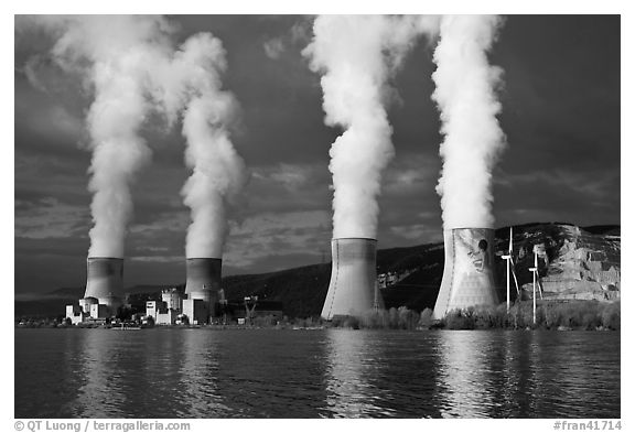 Nuclear power plant reflected in Rhone River. Provence, France (black and white)