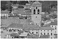 Red tile rooftops and church tower, Orange. Provence, France ( black and white)