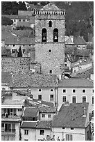 Houses and church tower, Orange. Provence, France (black and white)
