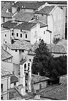 Townhouses with red tile rooftops, Orange. Provence, France ( black and white)