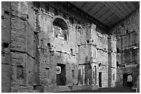 Stage wall of Roman Theatre, Orange. Provence, France (black and white)