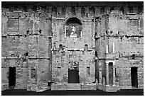 Stage wall of the Roman theater, the only such structure still standing entirely, Orange. Provence, France ( black and white)