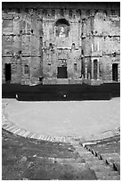 Seats, orchestra, stage, stage wall, Roman theatre, Orange. Provence, France ( black and white)