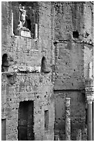 Detail of the stage wall of the Roman theatre, Orange. Provence, France ( black and white)