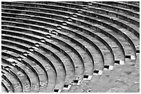 Tiered seats arrranged in a semi-circle, Orange. Provence, France (black and white)