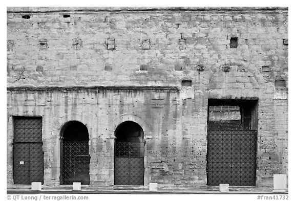 Facade detail, Roman Theater. Provence, France (black and white)