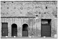 Facade detail, Roman Theater. Provence, France ( black and white)