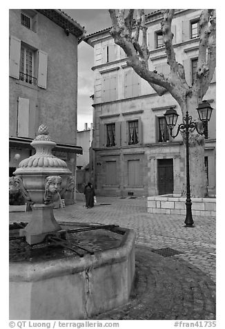 Fountain and town square, Orange. Provence, France (black and white)
