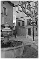 Fountain and town square, Orange. Provence, France ( black and white)