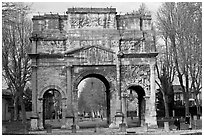 Roman arch, Orange. Provence, France (black and white)