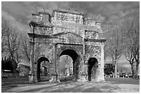 Ancient Roman arch, Orange. Provence, France (black and white)