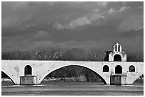 St Benezet Bridge (Pont d'Avignon). Avignon, Provence, France ( black and white)