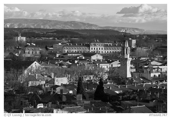 View over town and Alpilles mountains. Avignon, Provence, France (black and white)