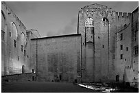 Honnor Courtyard at dusk, Papal Palace. Avignon, Provence, France (black and white)
