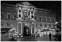 City Hall with Christmas Lights. Avignon, Provence, France (black and white)