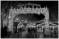 Christmas fair at night. Avignon, Provence, France ( black and white)