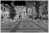 Place Crillion at night. Avignon, Provence, France (black and white)